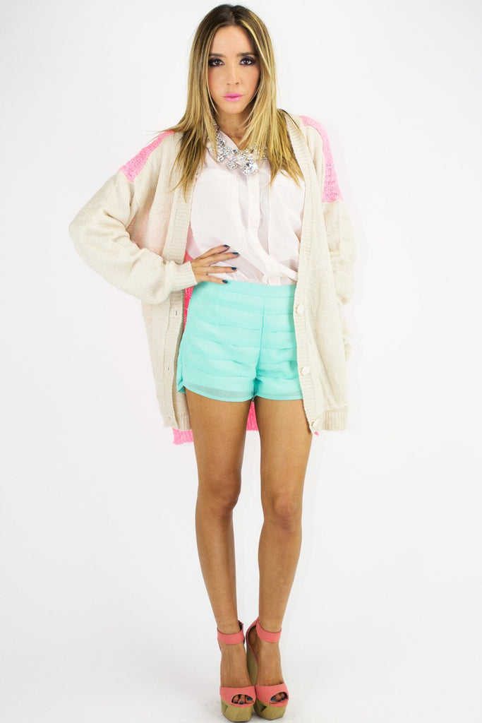 NEON CONTRAST SWEATER - Pink/Gray