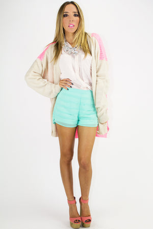 PLEATED SHORTS - Electric Mint - Haute & Rebellious