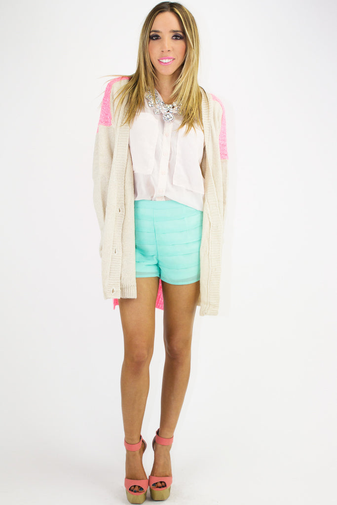 PLEATED SHORTS - Electric Mint