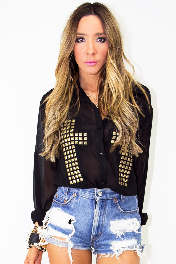 STUDDED CROSS CHIFFON BLOUSE - Black