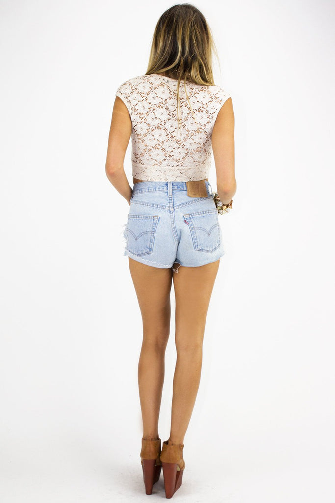 LACE CROPPED TOP - Beige (Final Sale) - Haute & Rebellious