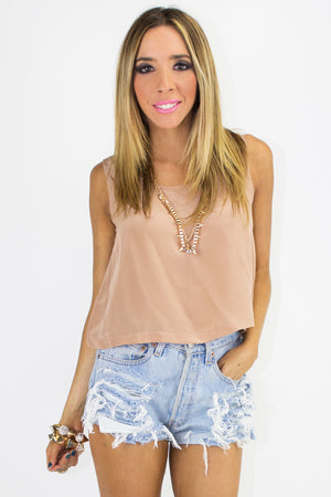 SILK CROPPED TOP - Vintage Rose - Haute & Rebellious