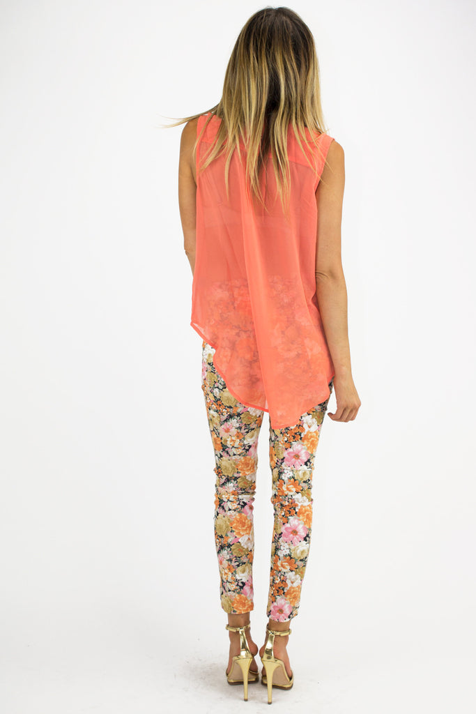 TWO POCKET CHIFFON BLOUSE - Orange (Final Sale)