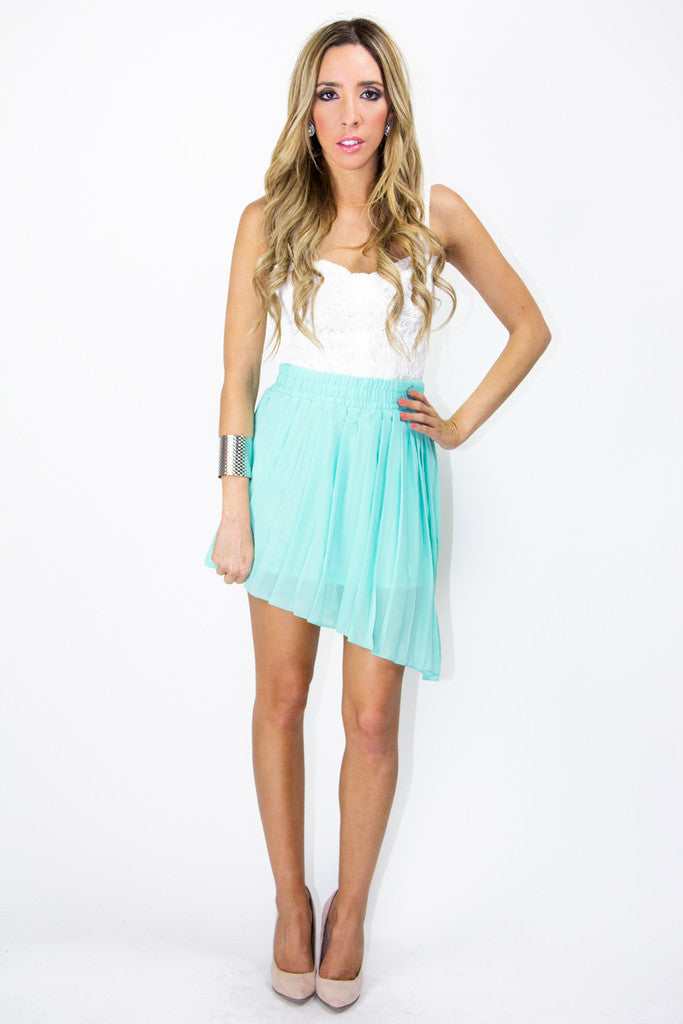 PLEATED HIGH-LOW SKIRT - Turquoise (Final Sale)