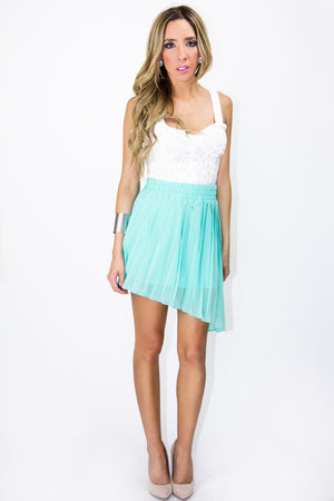 PLEATED HIGH-LOW SKIRT - Turquoise (Final Sale) - Haute & Rebellious