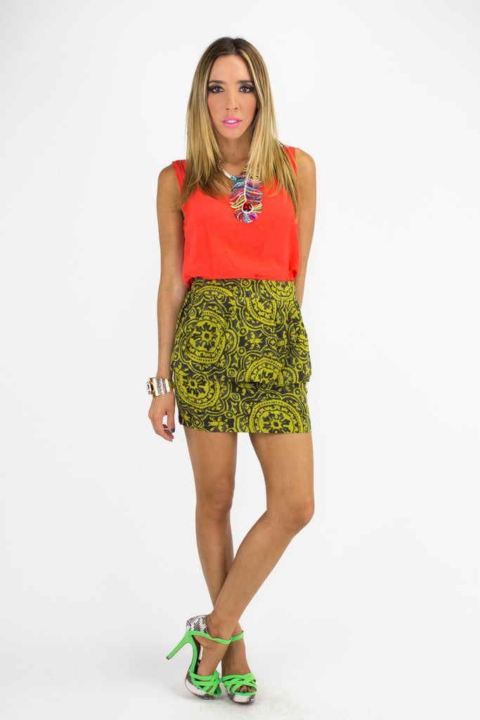 PEPLUM TRIBAL PRINT SKIRT - Yellow (Final Sale)