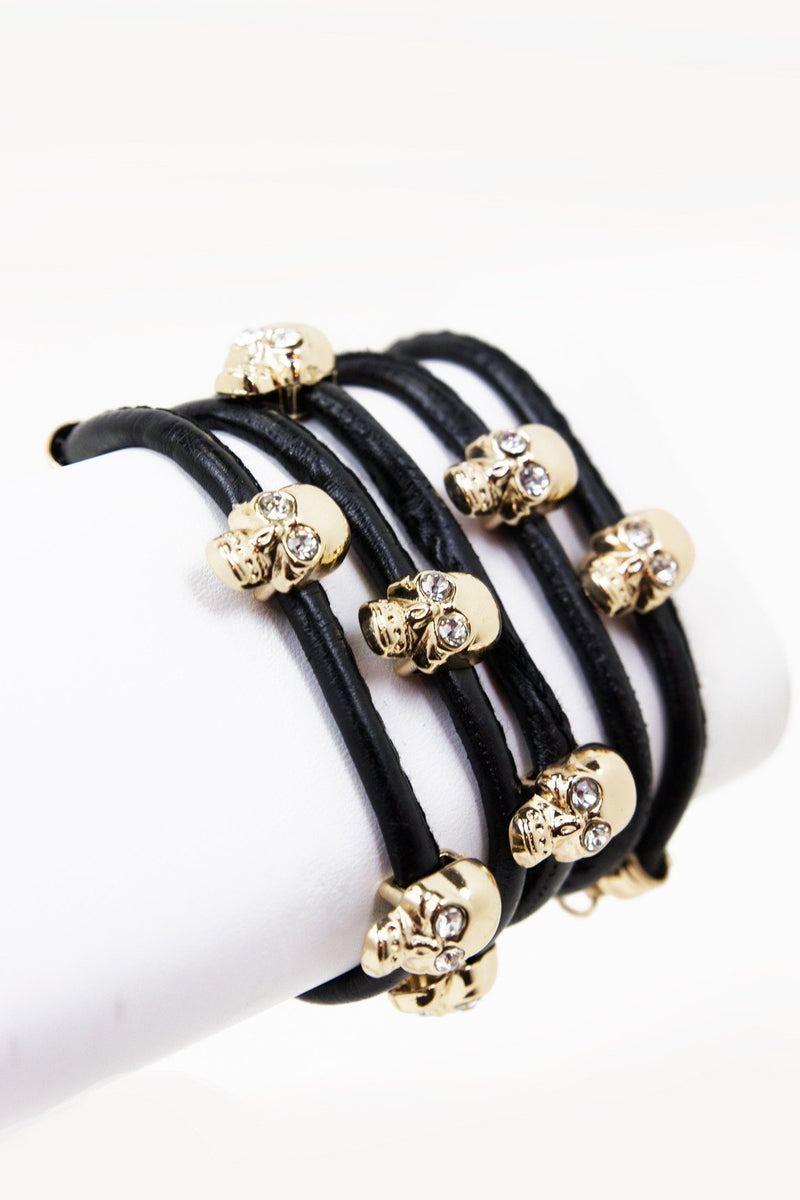 GOLD SKULLS BRACELET/NECKLACE/BELT - Black - Haute & Rebellious