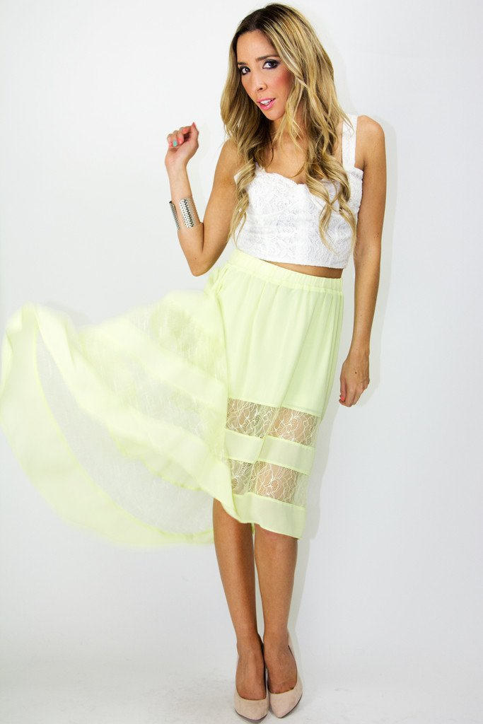 HIGH-LOW CONTRAST SKIRT - Lime