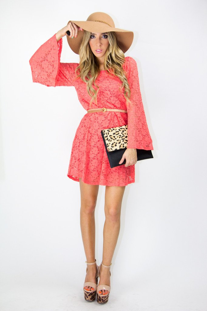 MADISON LACE DRESS - Peach Red