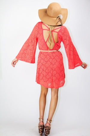 MADISON LACE DRESS - Peach Red - Haute & Rebellious