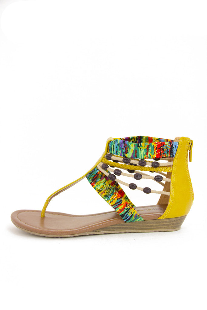 YELLOW TRIBAL SANDALS