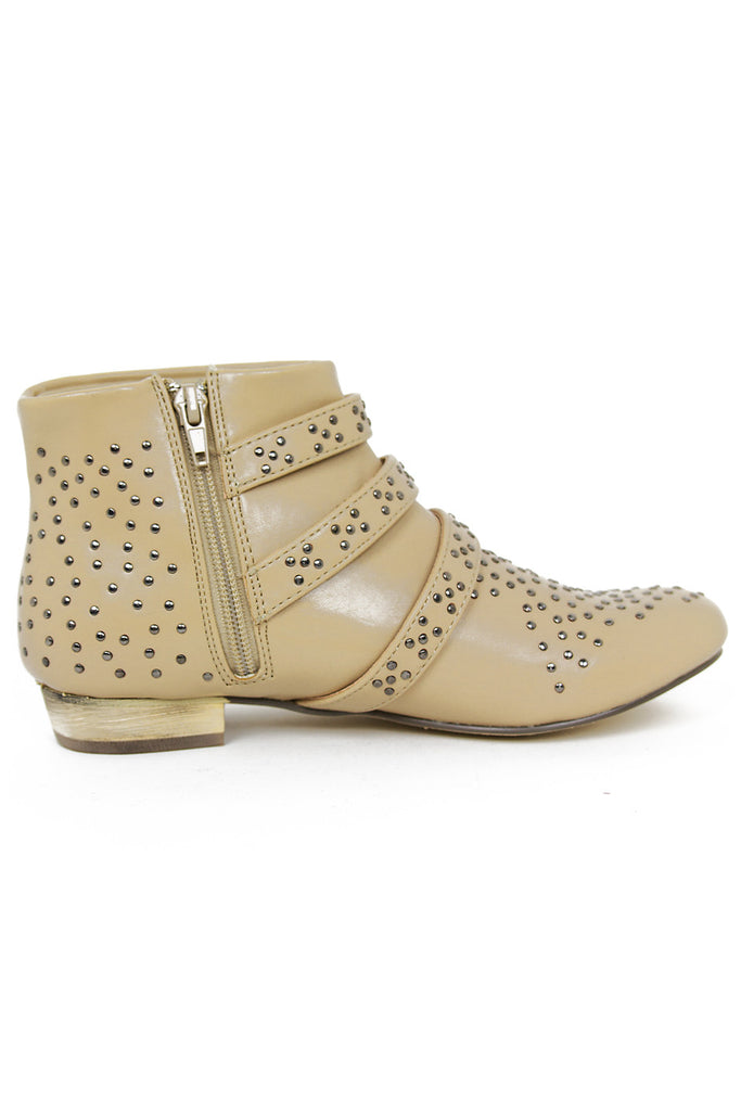 STUDDED ANKLE BOOTS - Beige