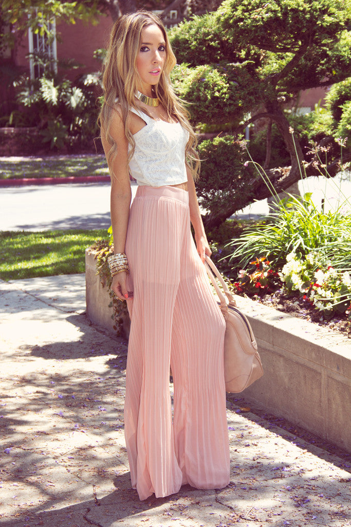 PLEATED PALAZZO PANTS - Peach Pearl - Haute & Rebellious