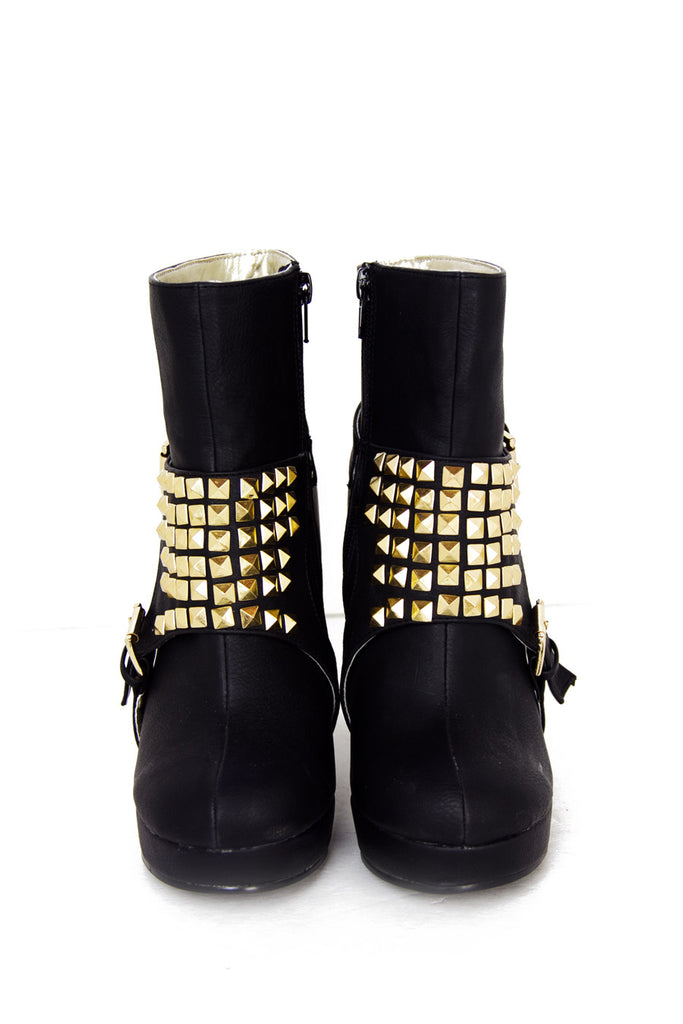 STUDDED BOOTS - Black / Gold
