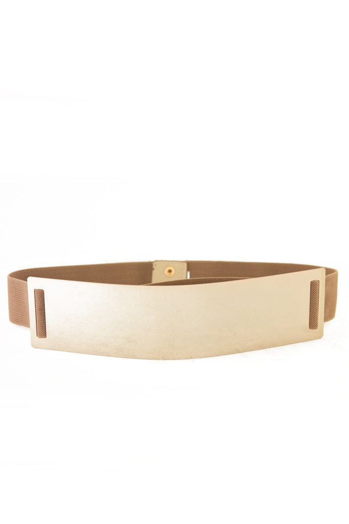 OVERSIZE GOLD PLATED BELT - Beige