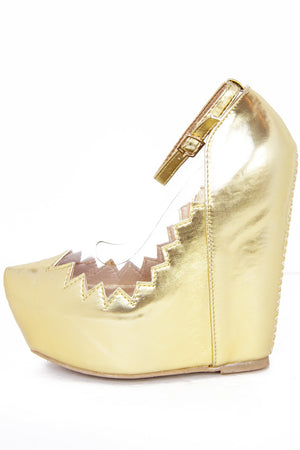 ZIG-ZAG CONTRAST CLEAR WEDGE - Metallic Gold - Haute & Rebellious