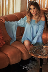 I Can Be There Off Shoulder Top - Light Blue - Haute & Rebellious