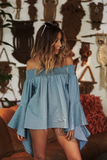 I Can Be There Off Shoulder Top - Light Blue