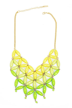 FLOWER STONE NECKLACE - Neon Green/Yellow - Haute & Rebellious