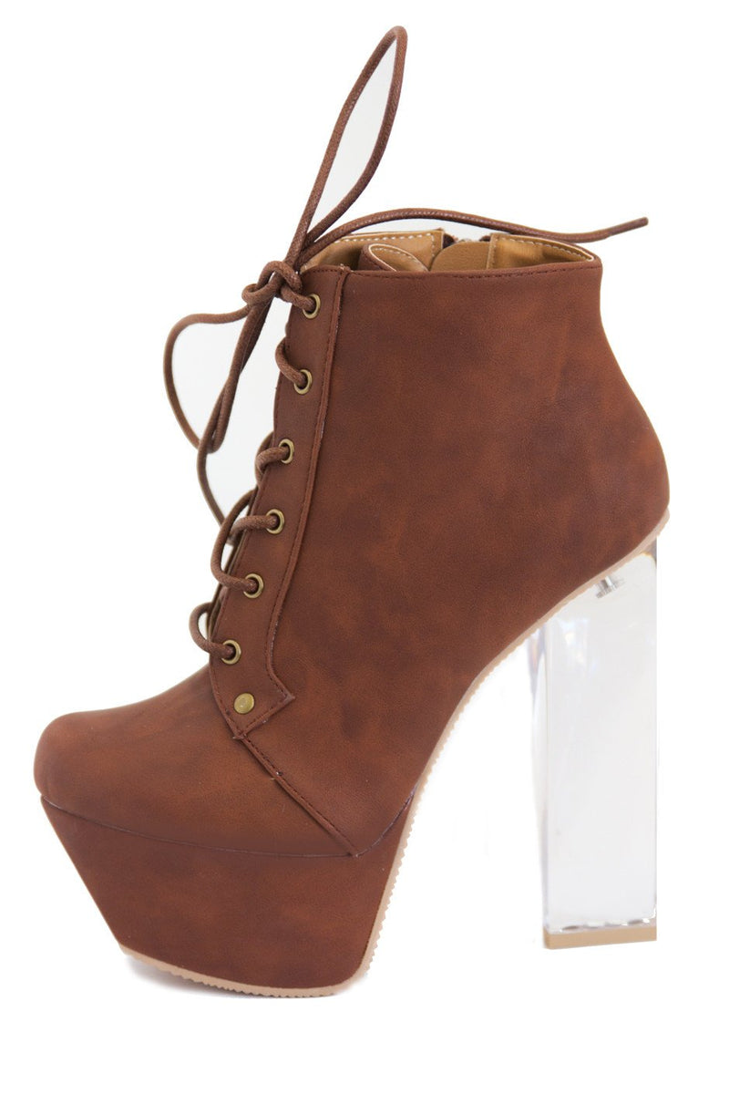 CLEAR HEEL BOOT - Cognac (Final Sale) - Haute & Rebellious