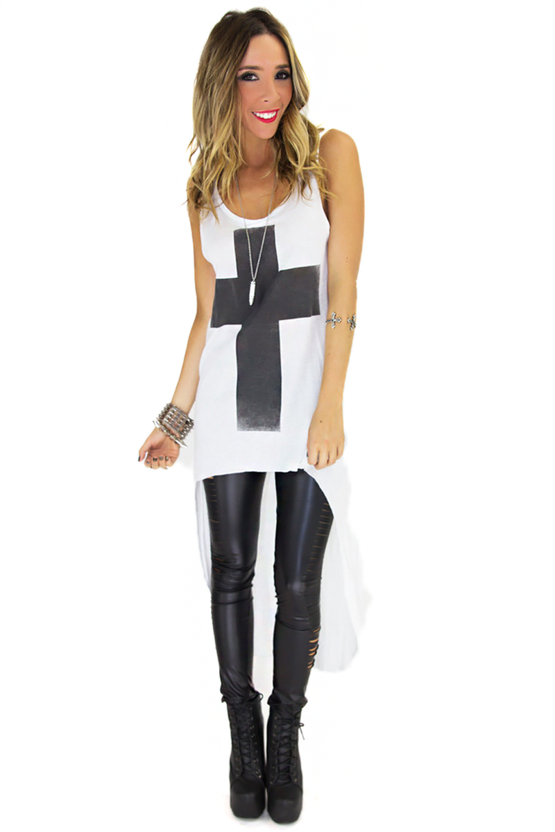 HIGH-LOW BOLD CROSS PRINT TANK - Haute & Rebellious