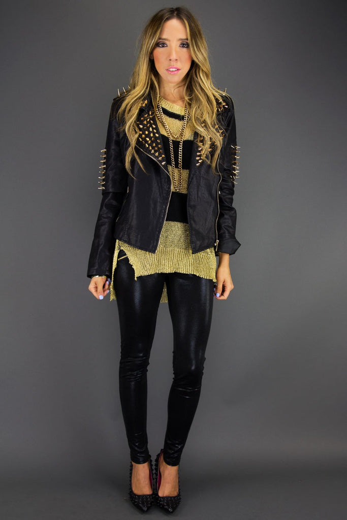 ALL OVER STUDDED SPIKE LEATHER JACKET
