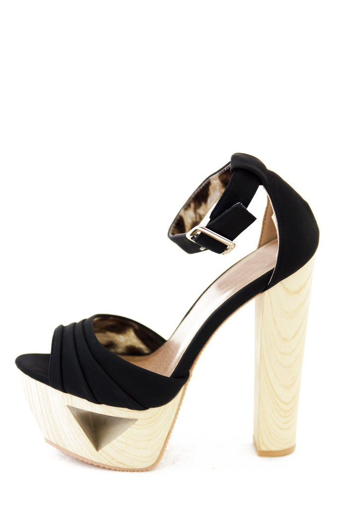 JENNI WOOD CUTOUT PLATFORM - Black