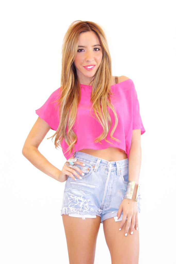 FUCHSIA SILK CROPPED TOP - Haute & Rebellious