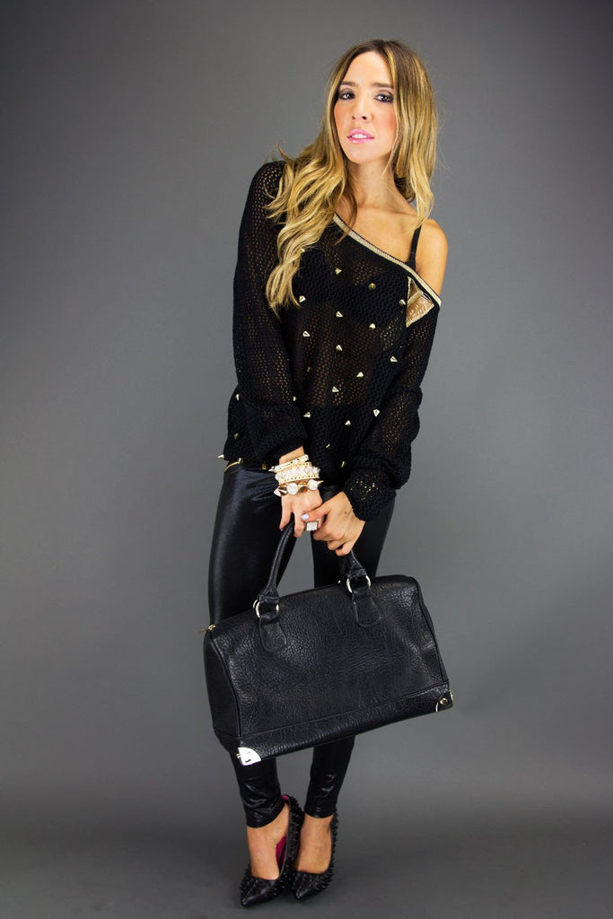 ALL OVER STUDDED SWEATER - Black