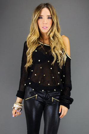 ALL OVER STUDDED SWEATER - Black - Haute & Rebellious
