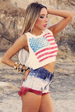 VINTAGE TIE DYE SHORTS - Patriotic Mix