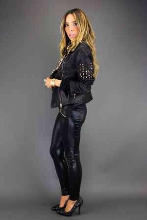 ALL OVER STUDDED SPIKE LEATHER JACKET - Haute & Rebellious