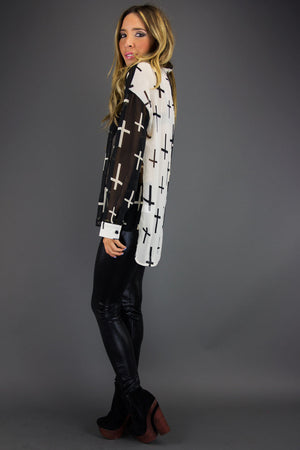 TWO TONE ALL OVER CROSS CHIFFON BLOUSE - Haute & Rebellious