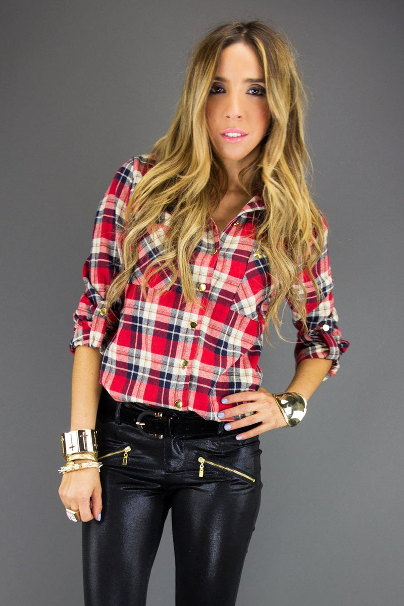 EVERETT PLAID SHIRT - Red - Haute & Rebellious