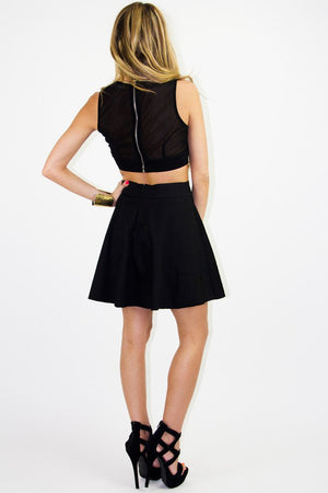 BLACK & MESH CUTOUT A-LINE SKIRT - Haute & Rebellious