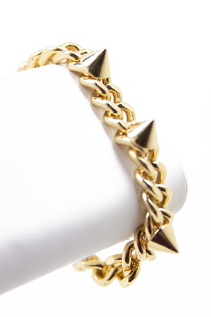 CHAIN LINK & SPIKES BRACELET - Gold - Haute & Rebellious
