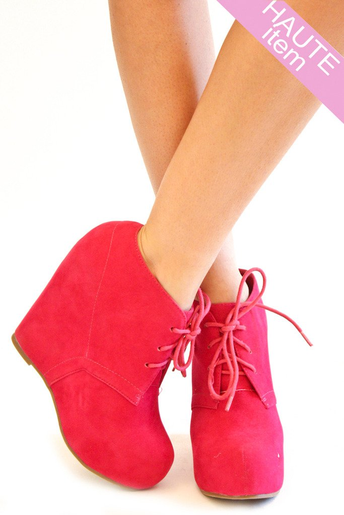 BURNED HIGHLIGHTER PINK WEDGE - Haute & Rebellious