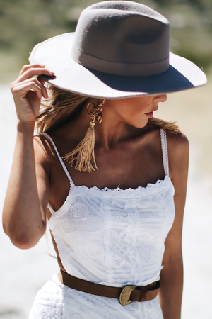 Flat Brim Hat - Natural - Haute & Rebellious
