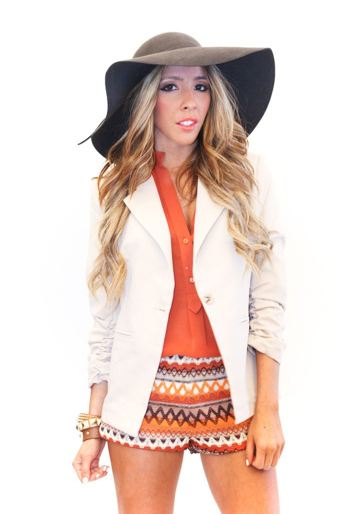 BOYFRIEND ROLLED SLEEVE BLAZER - Cream - Haute & Rebellious