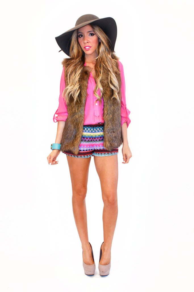 ANYA TRIBAL SHORTS - Fuchsia