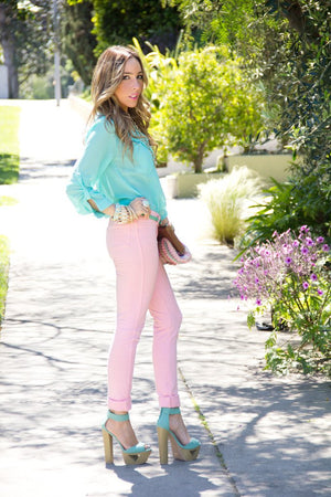 CONNIE SOFT SKINNY PANT - Pink (Final Sale) - Haute & Rebellious