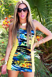 TROPICAL CONTRAST DRESS - Yellow (FINAL SALE)
