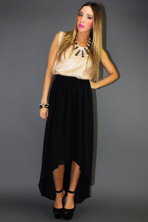 ELENA CONTRAST HIGH-LOW DRESS - Haute & Rebellious