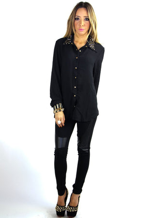 JASIC STUDDED COLLAR CHIFFON BLOUSE - Black (Final Sale) - Haute & Rebellious