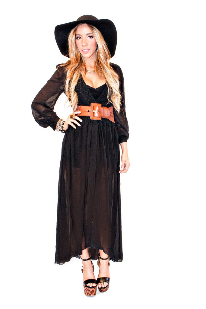 BLACK LONG CHIFFON WRAP DRESS