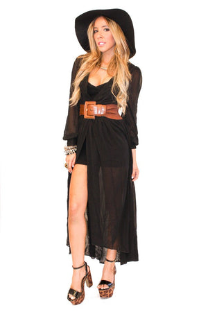 BLACK LONG CHIFFON WRAP DRESS - Haute & Rebellious