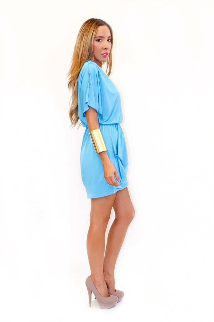 DEEP-V WRAP DRESS - Sky Blue