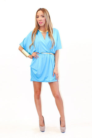 DEEP-V WRAP DRESS - Sky Blue - Haute & Rebellious