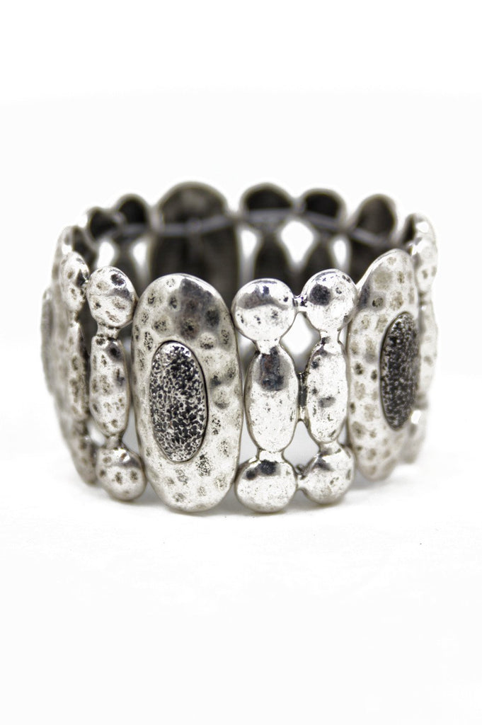DENTED METAL BRACELET - Dark Silver (Final Sale)