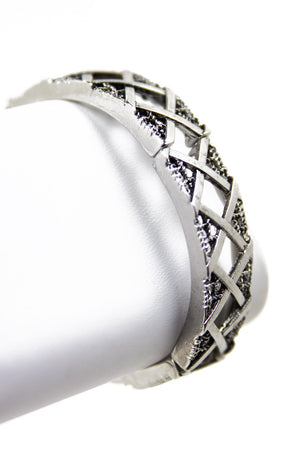 BRUSHED METAL CROSS BRACELET (Final Sale) - Haute & Rebellious